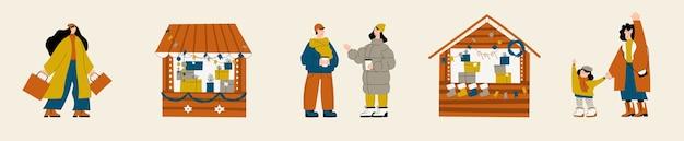 Aantal personen tekens met vakantiescènes op kerstmarkt of vakantie buitenbeurs op stadsplein man en vrouw winkelen kopen cadeautjes drinken glühwein elkaar begroeten