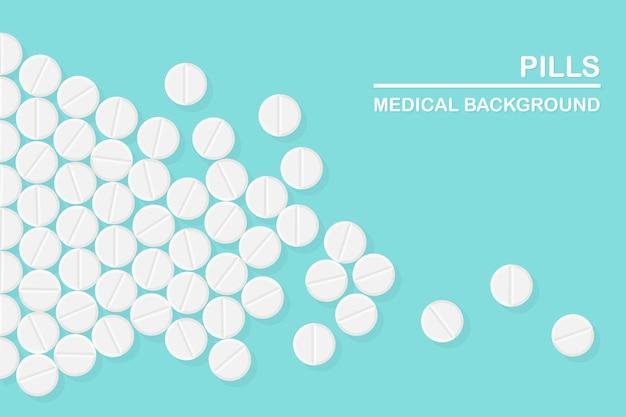 Aantal pillen, medicijnen, drugs. painkiller tablet, vitamine, farmaceutische antibiotica. medische achtergrond.