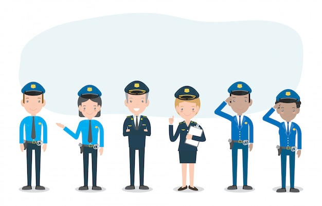 Aantal politieagenten op wit, vrouw en man politie tekens, beveiliging in uniform en pet, politie agent en officier beveiliging in uniform, illustratie