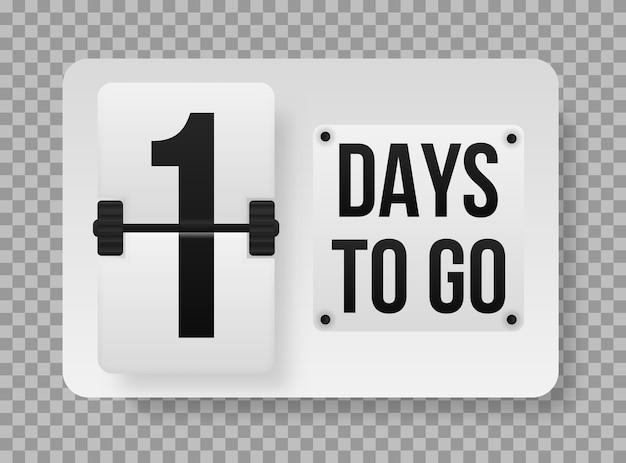 Aantal resterende dagen aftellende sjabloon, kan worden gebruikt voor promotie, verkoop, bestemmingspagina, sjabloon, ui, web, mobiele app, poster, banner, flyer. promotionele banner met het aantal dagen te gaan. vector.