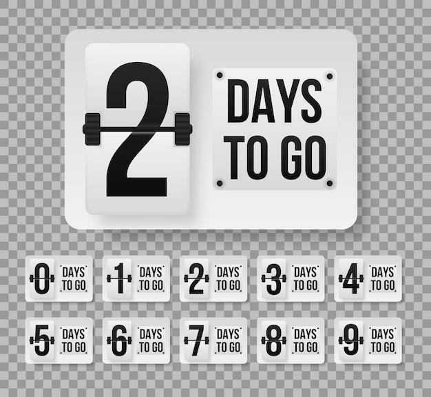 Aantal resterende dagen aftellende sjabloon. promotionele banner met het aantal dagen te gaan.
