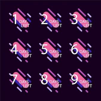 Aantal resterende dagen badge, voor promotie, verkoop, sjabloon, flyer, banner, poster en andere