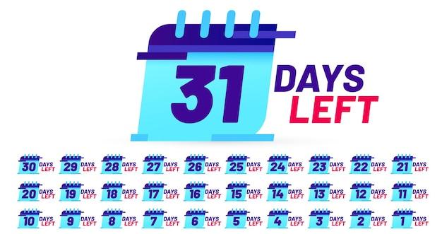 Aantal resterende dagen badges, stickerontwerp met aftellen