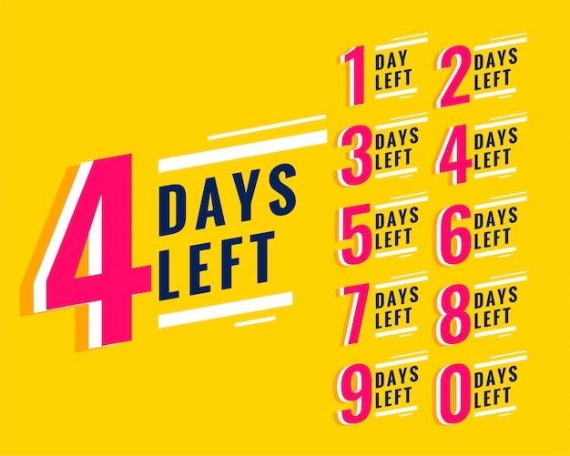 Aantal resterende dagen banner voor verkoop en promotie