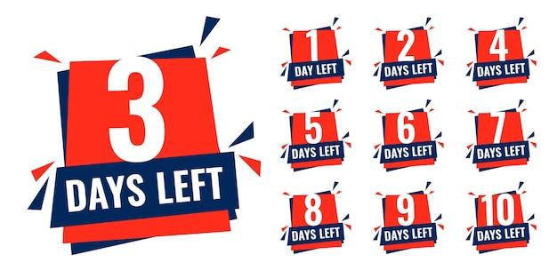 Aantal resterende dagen countdown timer banner in platte stijl