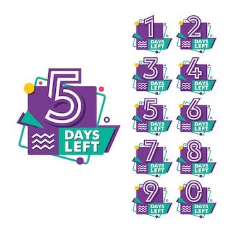Aantal resterende dagen countdown timer collectie