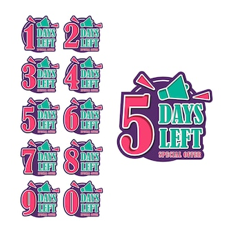 Aantal resterende dagen countdown timer design collectie