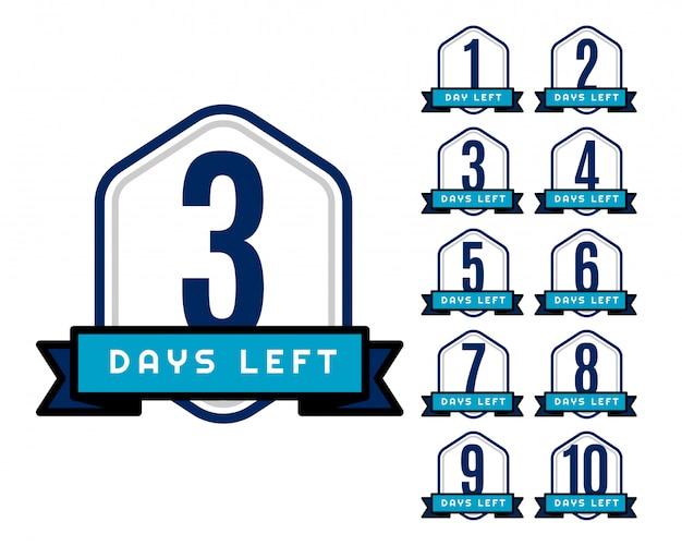 Aantal resterende dagen countdown timer voor verkoop en promotie