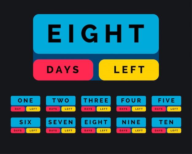 Aantal resterende dagen in knopstijl