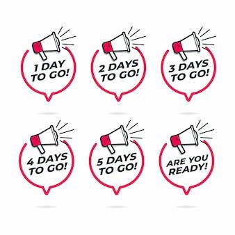 Aantal resterende dagen, luidspreker met tekstballon.