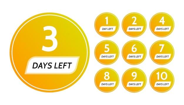 Aantal resterende dagen. set van tien gele banners met aftellen van 1 tot 10. vectorillustratie