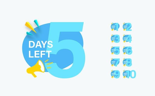 Aantal resterende dagen teken in moder platte stijl voor verkoop en promotie