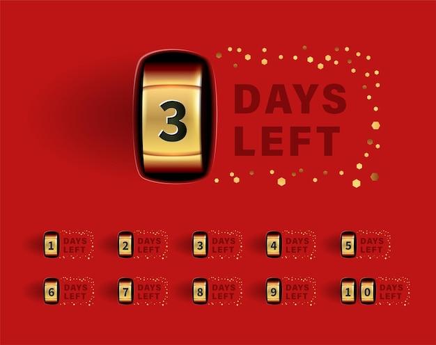 Aantal resterende dagen teken voor verkoop en promotie. gouden teller op rode achtergrond