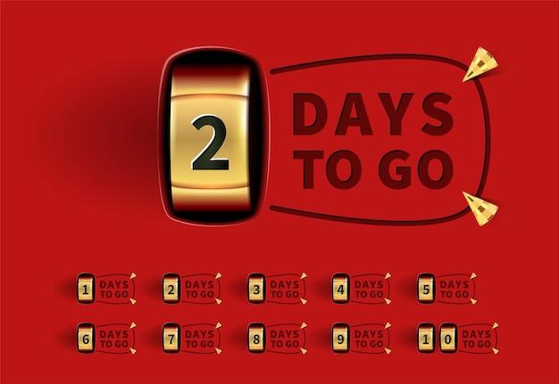 Aantal resterende dagen teken voor verkoop en promotie gouden teller