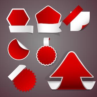 Aantal rode stickers en etiketten zonder inscripties