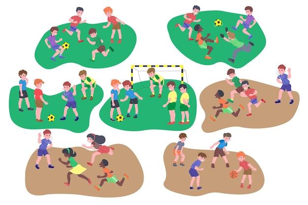 Aantal spelende kinderen. gelukkige kinderen doen lichaamsbeweging, inhalen, basketbal, sportspel. actieve gezonde jeugd. platte vector cartoon illustratie geïsoleerd op een witte achtergrond