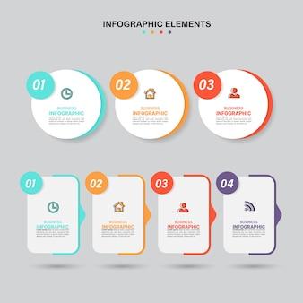 Aantal stappen infographic elementen