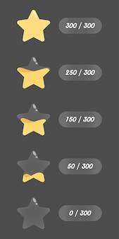 Aantal sterren vaten vloeibare elementen vullen
