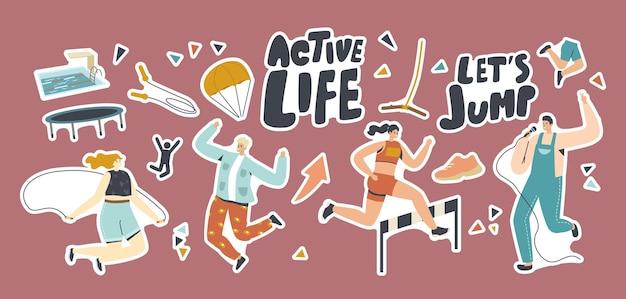 Aantal stickers actief leven, sport en hobby activiteit. personages zingen karaoke, parachutespringen, racen met obstakels en springen met touw. mensen vrije tijd, xtreme recreatie. cartoon vectorillustratie