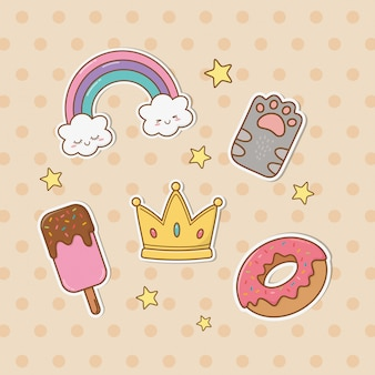 Aantal stickers kawaii