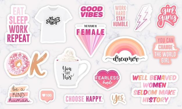 Aantal stickers met motivatiezinnen voor meisjeskracht