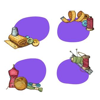 Aantal stickers met plaats voor tekst met hand getrokken naaien elementen. badge met lege plaatsillustratie