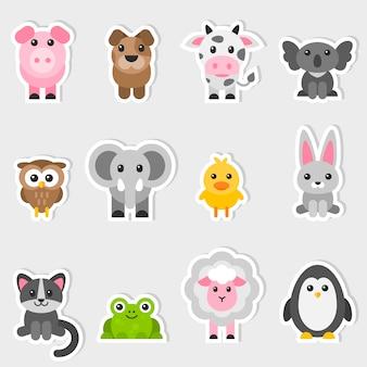 Aantal stickers met schattige dieren
