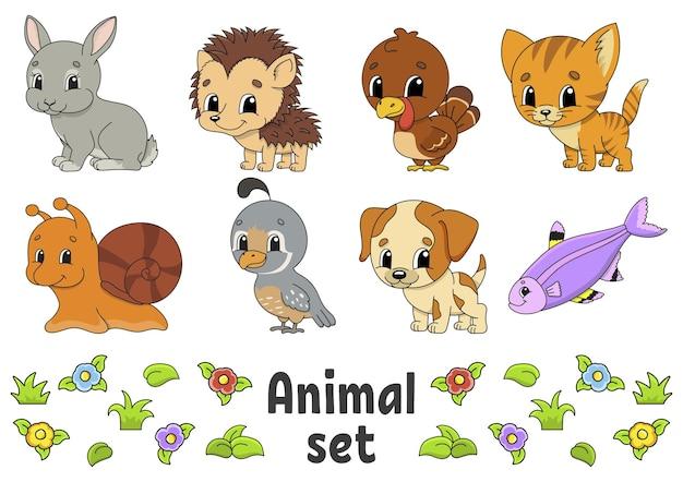 Aantal stickers met schattige stripfiguren dierlijke clipart