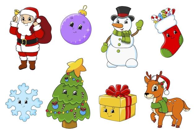 Aantal stickers met schattige stripfiguren illustratie
