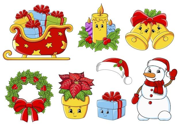 Aantal stickers met schattige stripfiguren. kerst thema. hand getekend. kleurrijk pakket.