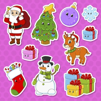 Aantal stickers met schattige stripfiguren. kerst thema.