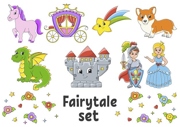Aantal stickers met schattige stripfiguren. sprookjesachtig thema. hand getekend.