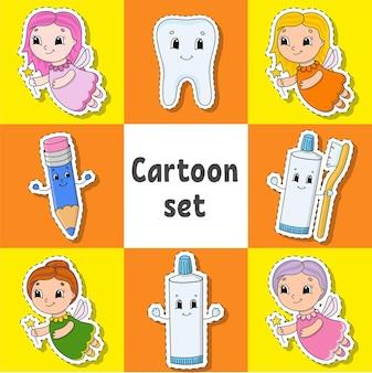 Aantal stickers met schattige stripfiguren tandheelkundige clipart