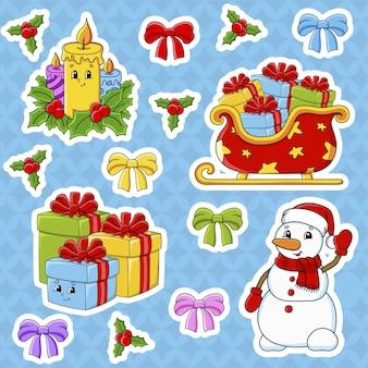 Aantal stickers met schattige stripfiguren