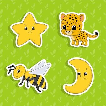 Aantal stickers met schattige stripfiguren.