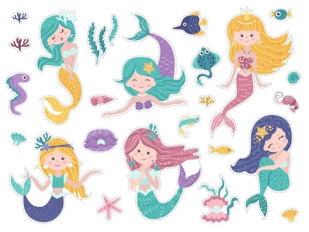 Aantal stickers met schattige zeemeerminnen en zee natuur.