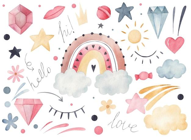 Aantal stickers regenboog, diamant, wolken aquarel