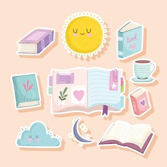 Aantal stickers van boeken, wolk en koffiekopje en maan