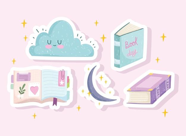 Aantal stickers van boeken, wolk en maan
