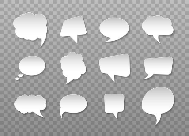 Aantal stickers van tekstballonnen voor strips