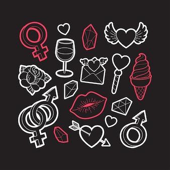 Aantal stickers voor valentijnsdag.