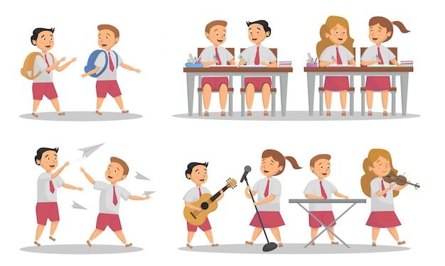 Aantal studenten activiteit op school concept