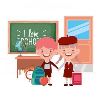 Aantal studenten met school suppliesin het klaslokaal
