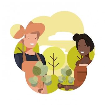 Aantal tuiniers met landschap avatar karakter