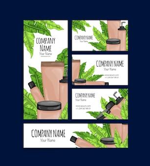 Aantal visitekaartjes en flyers met biologische cosmetica. cartoon stijl.