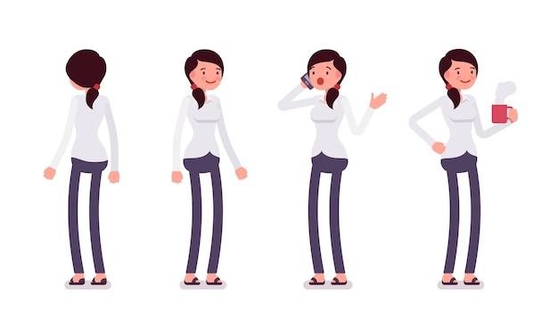 Aantal vrouwelijke bediende in staande poses, achterste, vooraanzicht