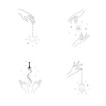 Aantal vrouwelijke hand logo's hand getrokken