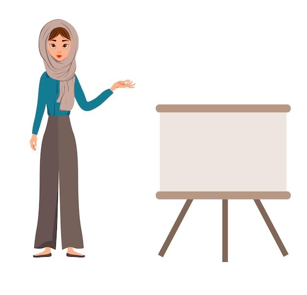 Aantal vrouwelijke karakters. meisje wijst de hand naar het schema.