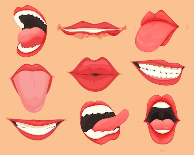 Aantal vrouwelijke lippen met verschillende mondemoties en uitdrukkingen. illustratie.