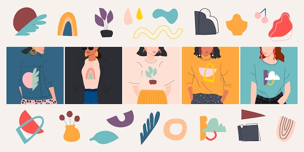 Aantal vrouwelijke portretten verschillende doodle objecten. hand getekende illustratie. plat ontwerp.